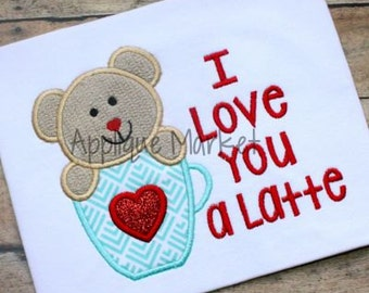 Personalized Valentine's Day I love you A Latte Bear or Cat (see pics) Applique Shirt or Onesie Girl or Boy