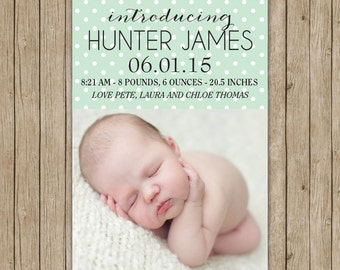Custom birth announcement with polka dots- digital file 5x7