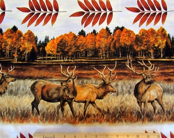 Per Yard, The Elk Gathering Fabric Stripe