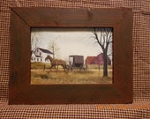 Billy JacobsPrint in Burgandy Rough cut Rustic Barn Wood framewith horse and buggy