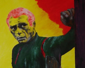 Steve Mcqueen Mural Style Portrait Painting, Oil Acrylic Brush Painting, Canvas Painting, Gallery Wrapped, 16 x 20 Canvas, Hang Ready