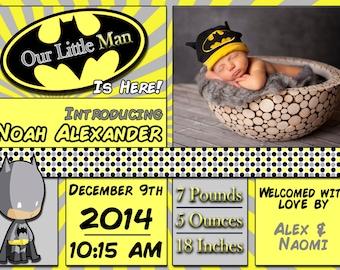 Little Batman Baby Announcement