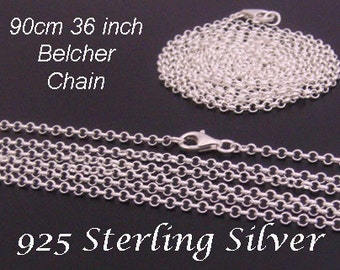 """Long Silver Chain, Long 925 Sterling Silver Chain, 90cm 36"""" Long x 2.0mm   Long Belcher Chain Sterling Silver   SSC090"""