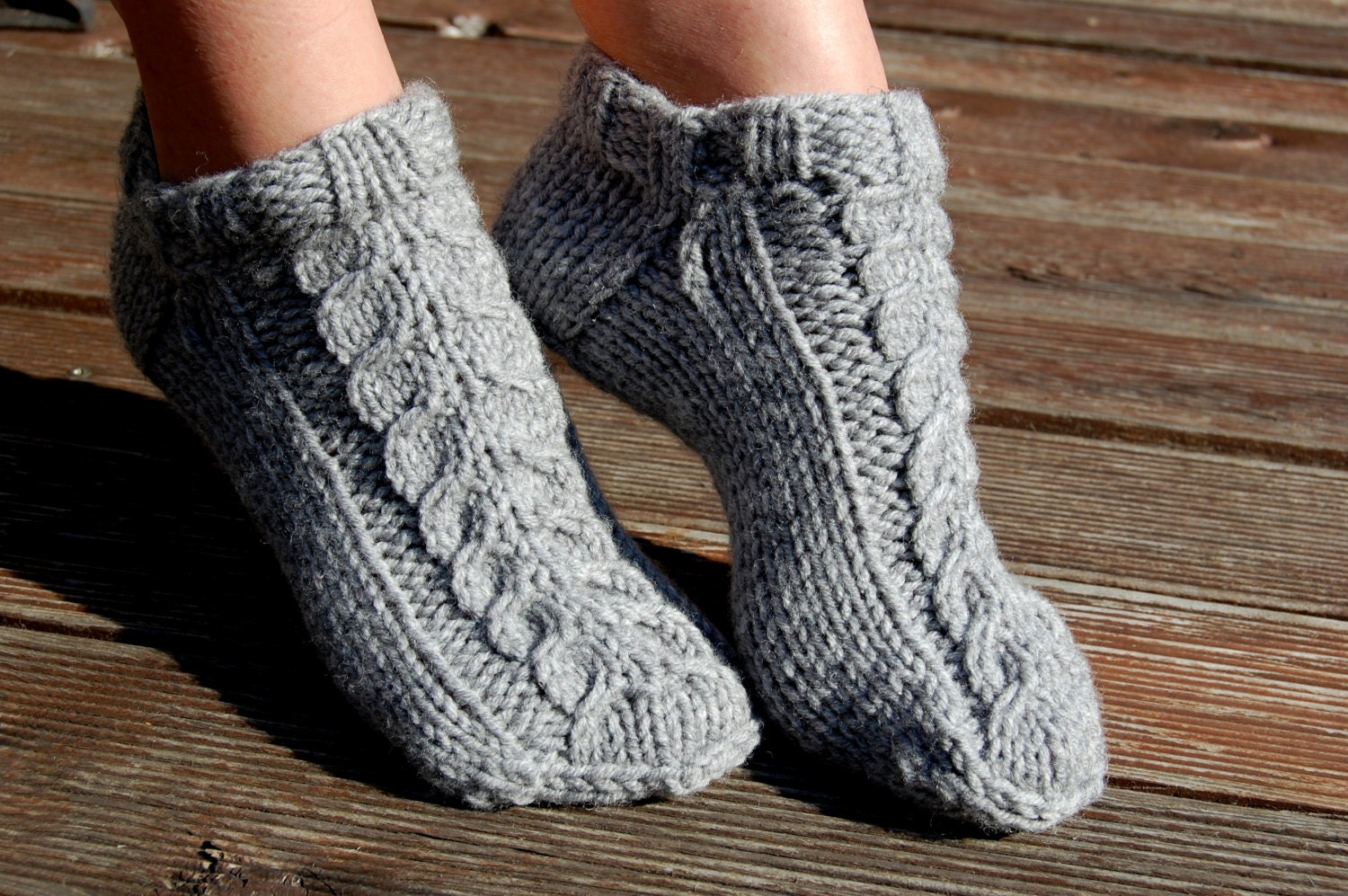 Knitting Pattern For Wool Slippers : Knitted wool slipper socks Hand knit wool socks Hand knit