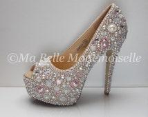 Pearl & Crystal Cinderella Shoe's HIGH Platform