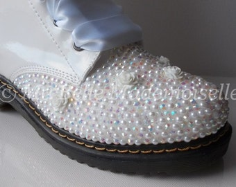 Crystal Bridal Dr Marten Style Boots