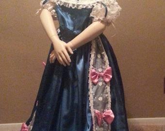 Satin Civil War Reenactment Victorian Dinner Ball Gown Southern Belle Dress Set Girls 6 8 10 12 14