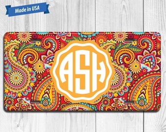 Paisley License Plate Monogram - Personalized Custom Made Auto Tag LP026