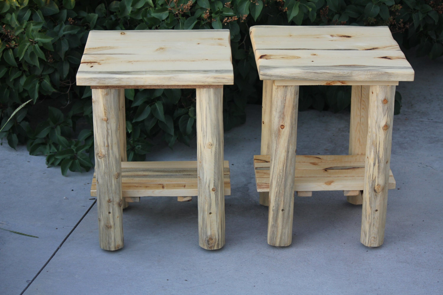 Rustic Log Live Edge Top End Table Night Stand Cabin