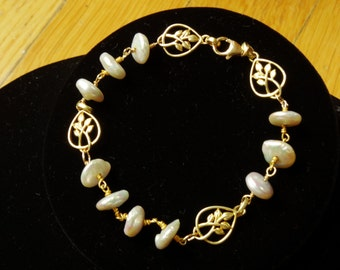 Pretty Pearl and Vermeil Bracelet,Feminine and delicate.