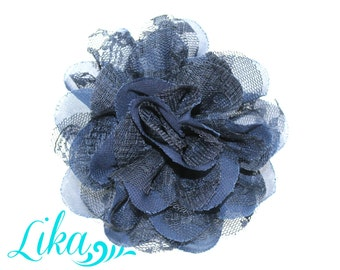 Navy Lace Flowers - Chiffon Flowers - Lace rose - Shredded Lace Flower - Wholesale - Supply - DIY- 3.75 inch - Navyl