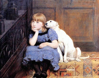 Little Girl Being Comforted by her Dog in Sympathy by Britton Riviere.  Man's best friend. pets, dogs, puppies, canvas art, 8x10 Canvas art,