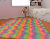 Luxurious Rainbow Faux Fur Throw Area Rug Rectangle Multi Color Nursery Rug Decor Accents Nonslip Backing Suede Soft Fur Play Mat Carpet