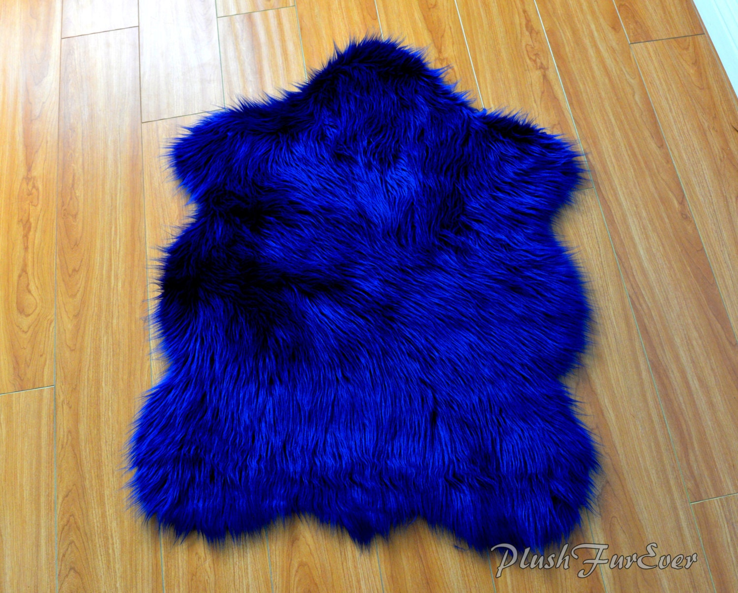 Navy Blue Shaggy Plush Sheepskin Faux Fur Nursery Rug Luxury