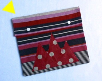 "Pouch for Tablet, ipad ""Snow Time"" red."
