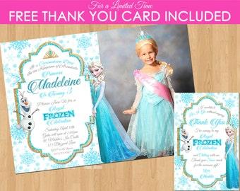 DISNEY FROZEN INVITATION, Printable Frozen Invitation, Frozen Invitation with Photo, Personalized Frozen Invitations, Elsa Invitation Olaf