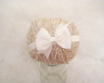 White Bow Baby Headband Cute Photo Prop Or Everyday 13.5  Inch