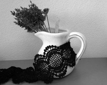 Black cotton lace/ black crochet lace/Costumes wide lace/Vintage Lace/Bridal Lace/Wedding Lace/Victorian lace/dress lace/DIY supplies