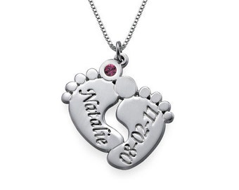 Sterling Silver Baby Feet Necklace