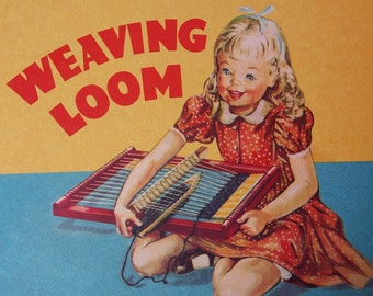 Weaving loom set new with yarn threads and instructions design from the 1950ties vintage remake for boys and girls