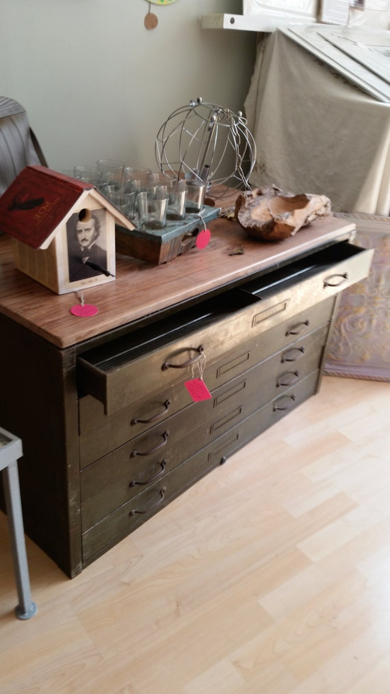 Flat File Cabinet Coffee Table Tv Table Etsy