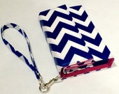 iPhone 6 Wristlet, iPhone 5s case, Moto g Wallet,  m8, LG G2, Galaxy S5, Galaxy Note 3, galaxy mega, Chevron Royal Blue and Pink