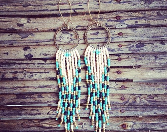 Long Beaded Earrings, Seed Bead Earrings, Tribal Jewelry, Hoop Seed Bead Earrings, Native American Inspired Jewelry