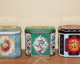 Set of Three Floral  'Made in England' Canisters/Tins