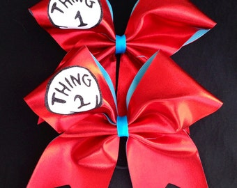 Thing 1and thing 2 metallic red cheer bows