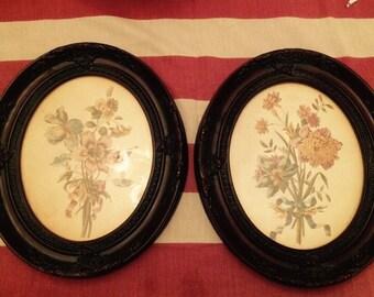Vintage Floral Sister Paintings