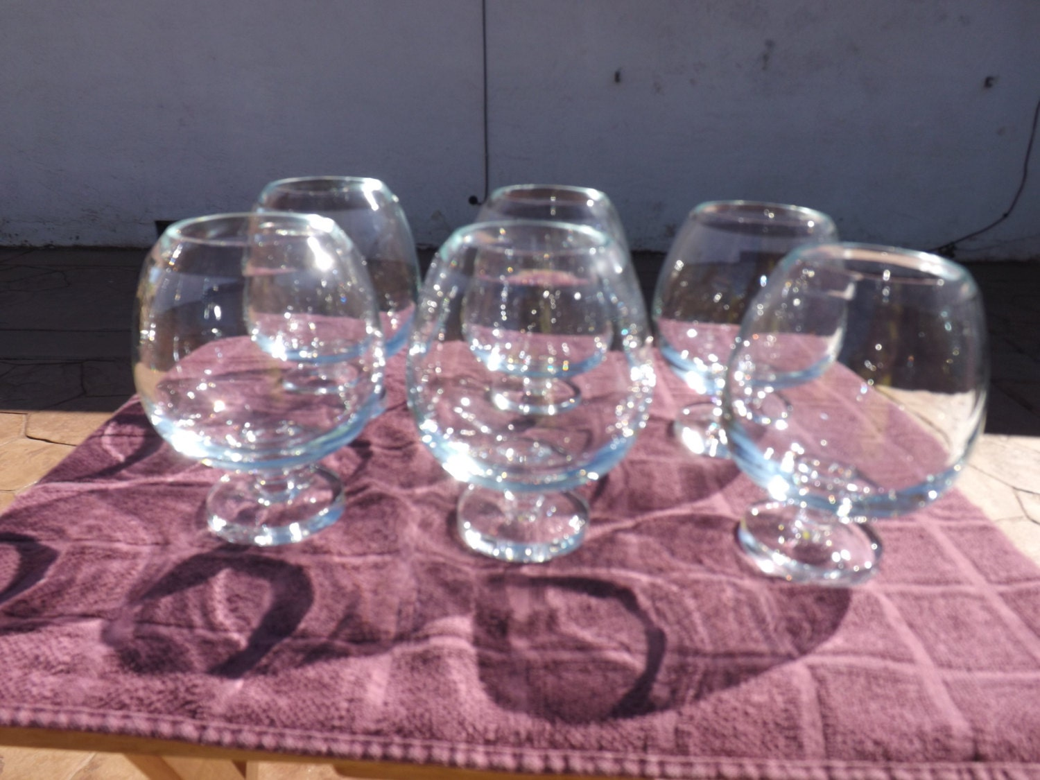 Vintage set of 6 large heavy clear glass fish bowl brandy for Large glass fish bowl