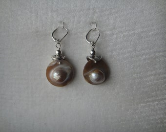 Sterling Silver with  Blister Pearl earring