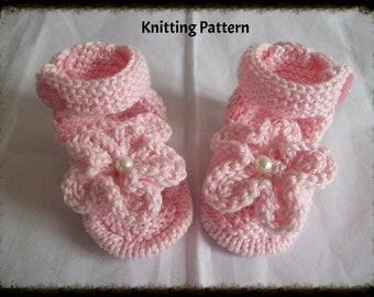 Knitting Pattern, instant download PDF, To Knit Baby girls sandals/shoes/booties/bootees in size 0-3 months, using 100% Cotton.