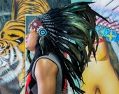 The Original - Real Feather All Black Chief Indian Headdress Replica 75cm, Native American Style Costume Hand Made War Bonnet Hat