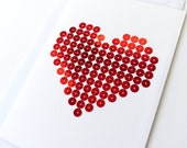 Hand stitched card red sequins heart pattern-craft card-contemporary card-writing-decoration-wedding-Mother's Day-Valentine's Day-love
