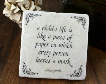 Coach or teacher gift.  A child's life is like a piece of paper. Tumbled marble keepsake plaque.