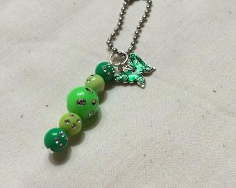 Butterfly & Bead Drop Key Chain