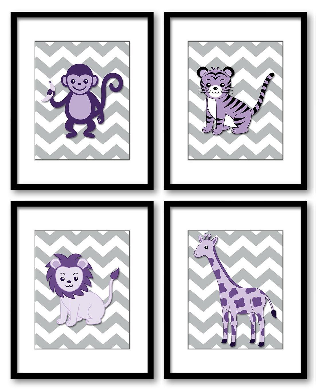 Purple Africa Safari Jungle Animals Nursery Art Baby Chevron Set of 4 Prints Tiger Monkey Lion Giraf