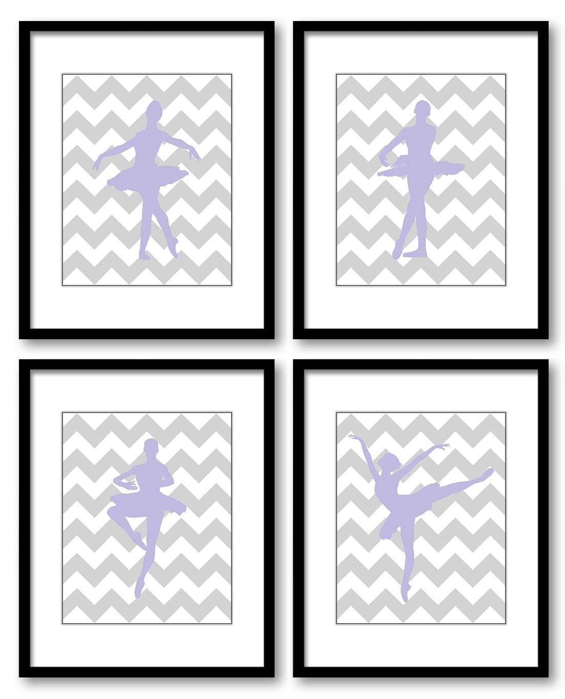 Purple Grey Gray Ballerina Art Child Baby Art Prints Set of 4 Ballet Girl Kids Room Wall Art Decor A