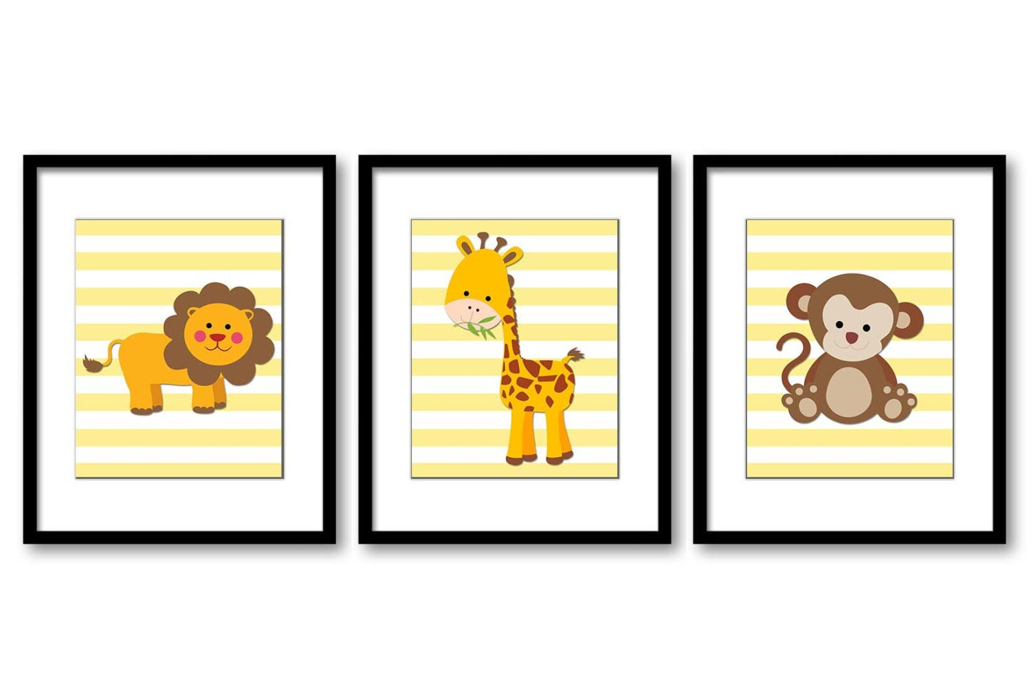 Cute African Safari Animals Art Prints Set of 3 Yellow Stripes Monkey Giraffe Lion Art Nursery Art N