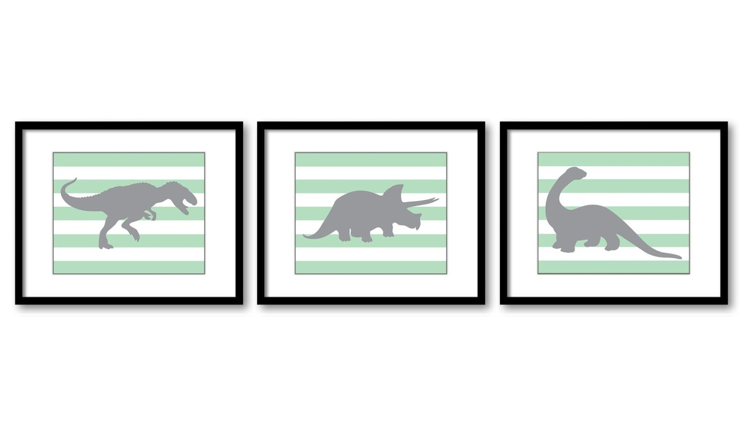 Dinosaur Nursery Art Dinosaurs Print Set of 3 Prints Mint Green Grey Stripes Tyrannosaurus Rex Trice