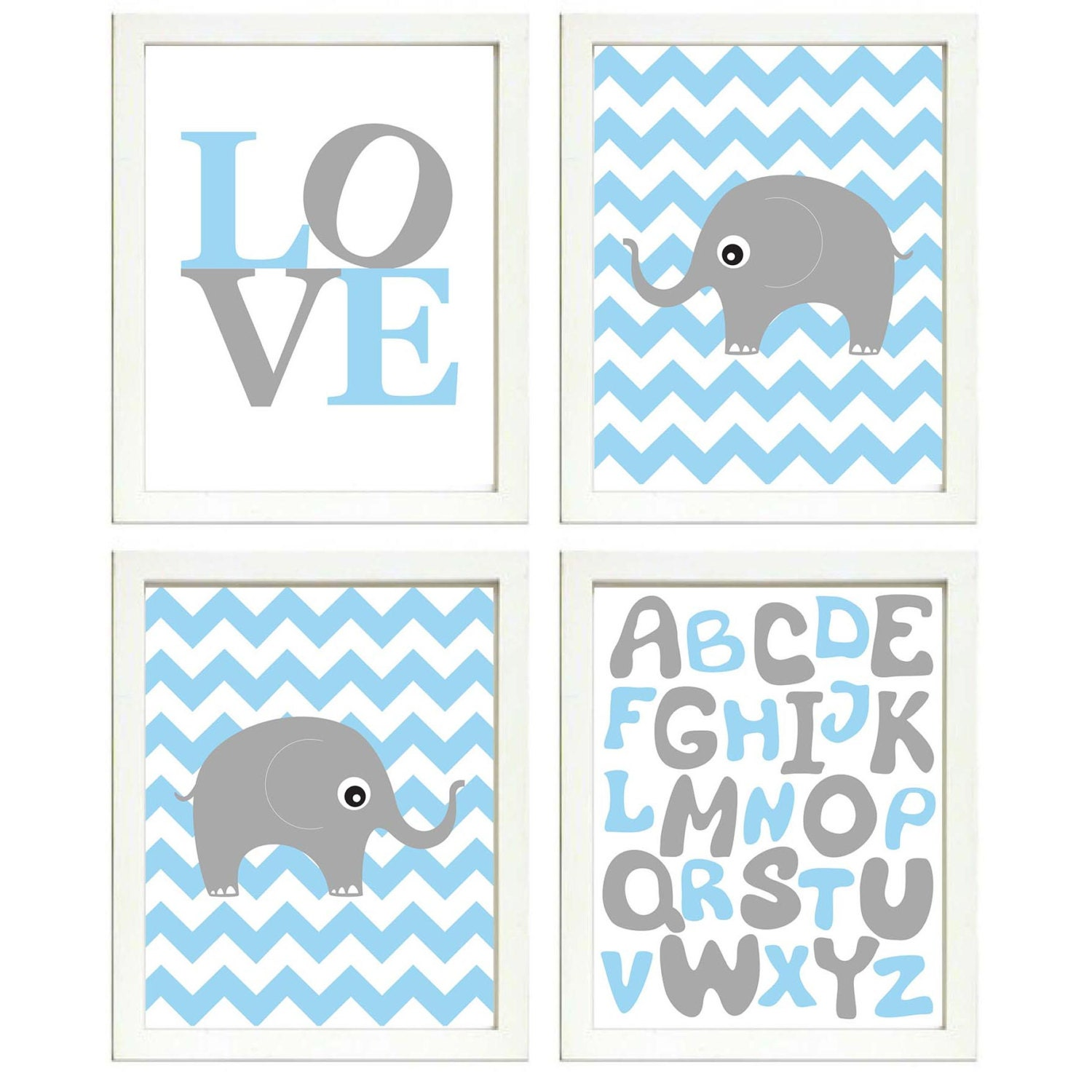 Elephant Nursery Art Set of 4 Prints Blue Yellow Chevron LOVE Alphabet ABC Child Kids Boy Room Wall