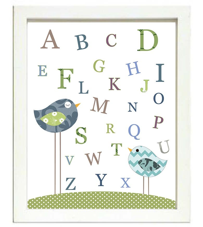 Bird Nursery Art Alphabet ABC Nursery Print Baby Art Animal Birds Chick Navy Blue Green Polka Dots W