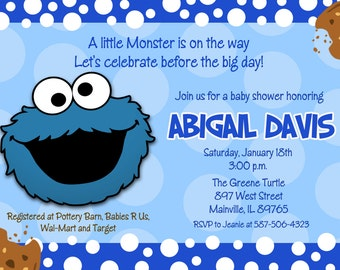 Cookie Monster Sesame Street Baby Shower Invitation - Digital or Printed