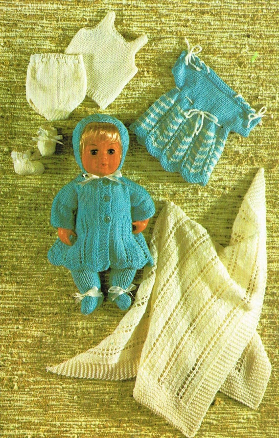 Knitting Patterns For Dolls Clothes 12 Inch : Dolls clothes knitting pattern for 12 inch baby doll. Vintage