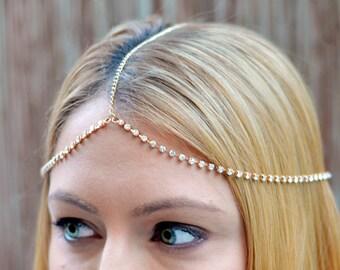 THE SYDNEY - Gold Rhinestones Festival Crown Gypsy Hair Chain Crystal Diamond Jewelry Boho Wedding Headpiece Hippie Cleopatra Summer Spring