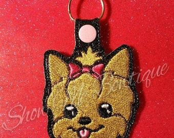 Yorkie Dog Snap Key Fob design
