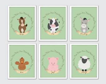 Farm Animals Nursery Prints, Set Of 6, Farm Themed Nursery, Nursery Farm Decor, Farm Animal Wall Art, Expectant Dad Gifts, Farm Animal Print
