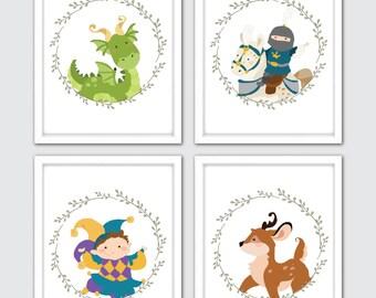 "Fairy Tale Nursery Art Prints, Baby Boy Nursery Prints, Knight Wall Art Prints, Baby Boy Nursery Decor, Dragon Nursery Decor 8x10"""