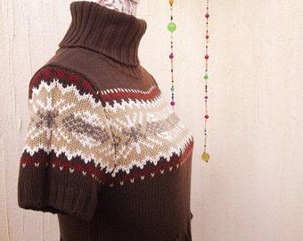Vintage dress-knitted dress-wool dress-brown dress-holiday dress-turtle neck dress-